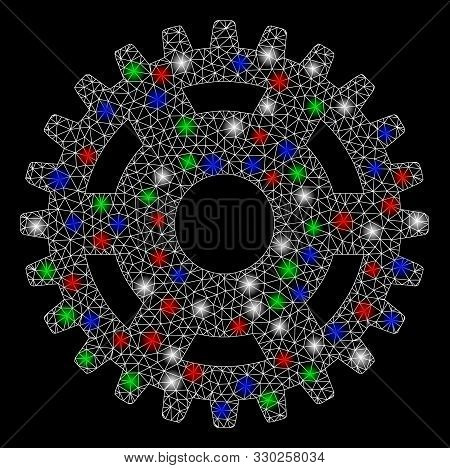 Bright Mesh Pinion With Glare Effect. White Wire Frame Triangular Mesh In Vector Format On A Black B