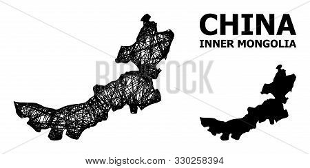Web Vector Map Of Inner Mongolia. Linear Carcass 2d Network In Eps Vector Format, Geographic Templat