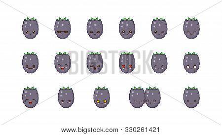 Blackberry Cute Kawaii Mascot. Kawaii Food Faces