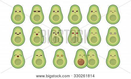 Avocado Cute Kawaii Mascot. Set Kawaii Food Faces