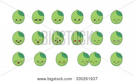 Lime Cute Kawaii Mascot. Set Kawaii Food Faces
