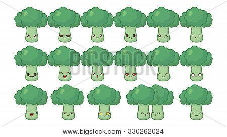 Broccoli Cute Kawaii Mascot. Set Kawaii Food Faces