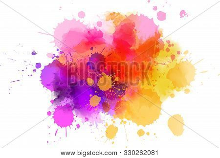 Multicolored Splash Watercolor Paint Blot - Template For Your Designs. Purple, Pink And Orange Color