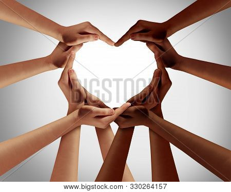 Racial Love With White Caucasion And Black African American Hands Shaped As An Interracial Heart Rep