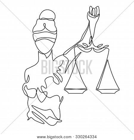 Themis Statue Holding Scales Balance Continuous One Line Vector Drawing. Symbol Of Justice, Law And