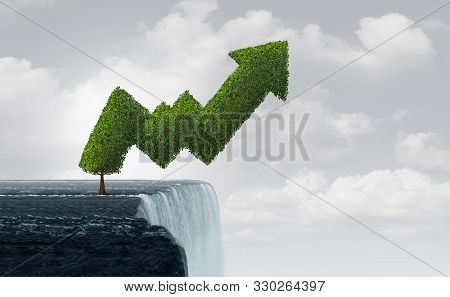 Growth In Turbulent Times And Risky Unstable Market As A Business Success Metaphor As A Tree Shaped