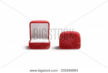 Blank Red Opened And Closed Ring Box Mockup, Front View, 3d Rendering. Empty Gules Jewel Case Mock U