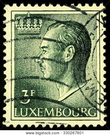 Moscow, Russia - October 26, 2019: Stamp Printed In Luxembourg Shows Jean, Grand Duke Of Luxembourg