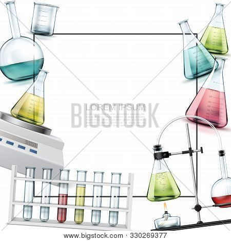 Realistic Laboratory Elements Template With Beaker Test Tubes Electronic Scales Chemical Experiment