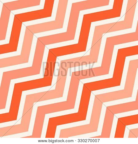 Simple Vector Seamless Pattern With Diagonal Stripes, Lines, Chevron, Zigzag. Pink, Salmon And Red C