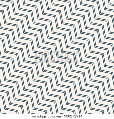 Simple Vector Seamless Pattern With Diagonal Stripes, Lines, Chevron, Zigzag. Blue And White Color.