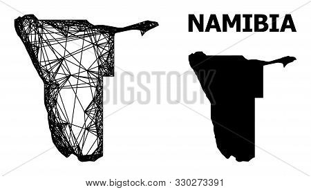 Net Vector Map Of Namibia. Linear Frame Flat Mesh In Vector Eps Format, Geographic Template For Poli