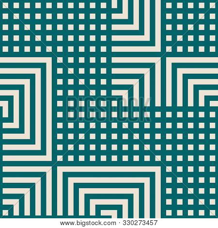 Vector Geometric Seamless Pattern With Lines, Squares, Rectangles, Tiles, Grid, Chevron. Abstract Gr
