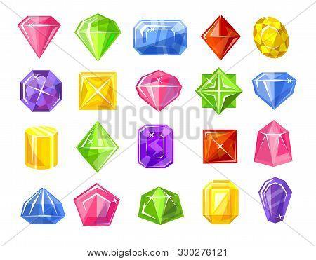 Gemstones Colorful Set Isolated On White Vector Illustration. Shiny Diamond Symbols In Different Sha