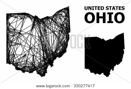 Net Vector Map Of Ohio State. Linear Frame Flat Mesh In Eps Vector Format, Geographic Template For P