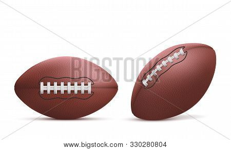 Rugby Balls Set Isolated On White Background, American Football Sports Accessory With Lacing, Equipm