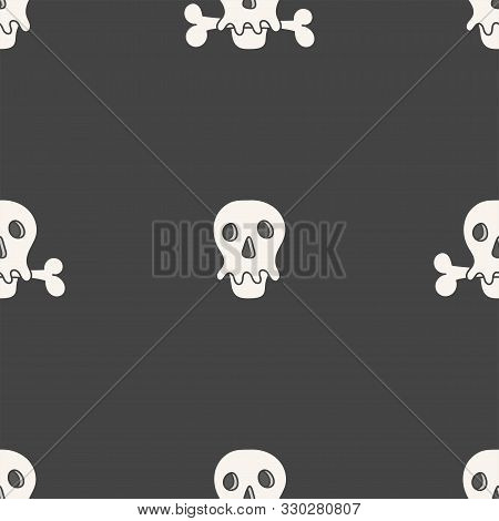 Flat Linear Design. Seamless Texture Of The Human Skull And Bones. Can Be Used For Wallpaper, Patter