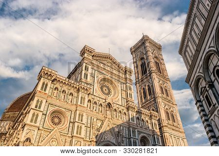 Florence, Italy Cathedral Of Saint Mary Of Flower, Florence Duomo And Giotto S Bell Tower Of Florenc