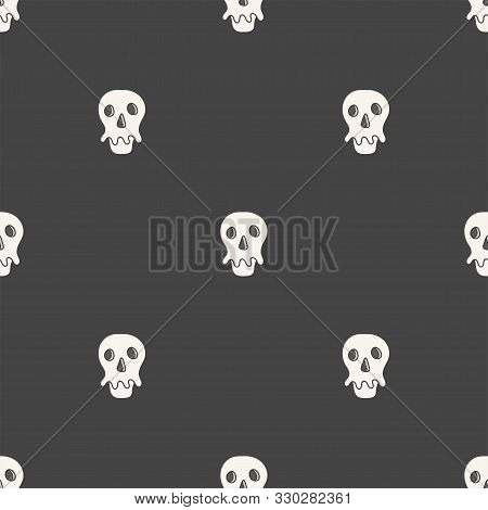 Flat Linear Design. Seamless Texture Of The Human Skull. Can Be Used For Wallpaper, Pattern Fills, W