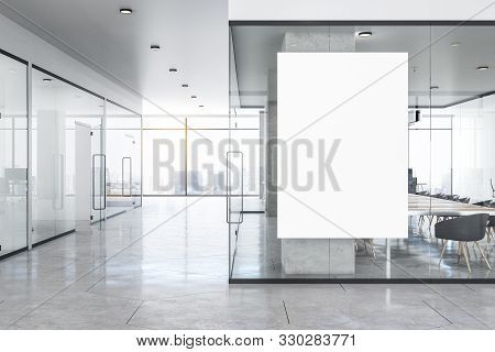 Modern Glass Concrete Office Interior With Empty White Poster, City View, Daylight, Furniture And Eq