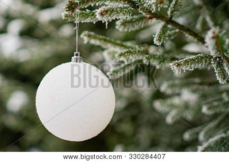 Christmas Tree Decorated With Garlands. Happy New Year. Winter. Mary Christmas. Clear Crystal Christ