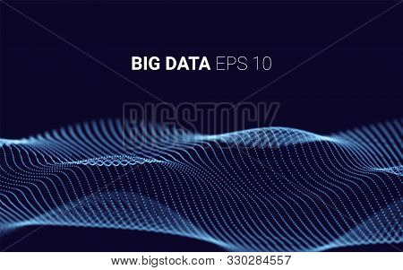 Waves With Particles On Dark Background. Complex Lines Consisting Graphic. Futuristic Lines Of Many