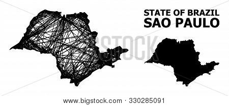 Net Vector Map Of Sao Paulo State. Wire Carcass 2d Network In Vector Format, Geographic Template For