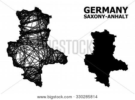 Net Vector Map Of Saxony-anhalt State. Linear Carcass Flat Network In Eps Vector Format, Geographic