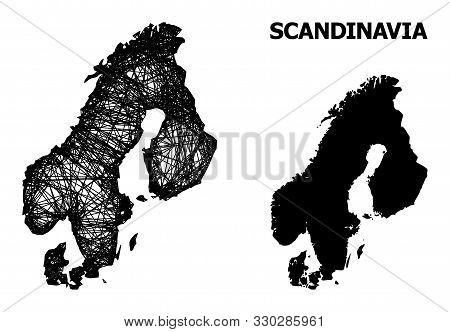 Net Vector Map Of Scandinavia. Wire Frame 2d Mesh In Eps Vector Format, Geographic Model For Patriot
