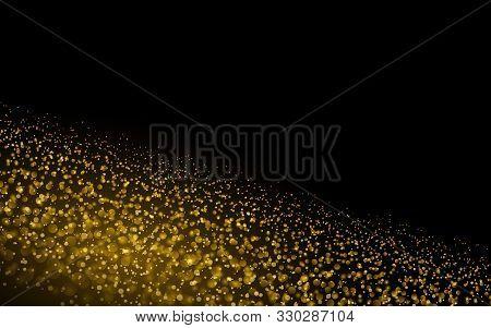 Sparkling Background Luminous Gold Stars Star Dust Sparks In Explosion On Black Background. Glitter