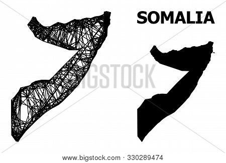 Net Vector Map Of Somalia. Wire Carcass Flat Mesh In Vector Eps Format, Geographic Model For Economi