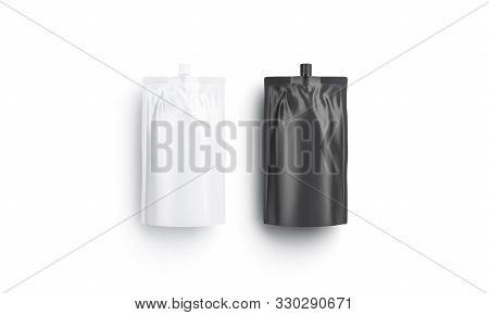 Blank Black And White Sause Doy-pack Mockup, Top View, 3d Rendering. Empty Flexible Bottle For Grill