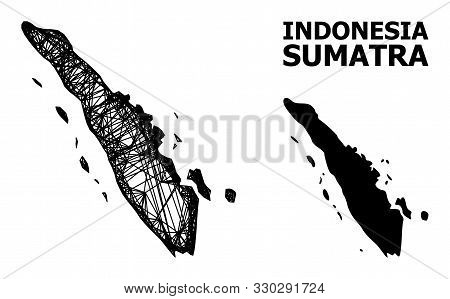 Net Vector Map Of Sumatra Island. Linear Carcass Flat Mesh In Vector Eps Format, Geographic Model Fo