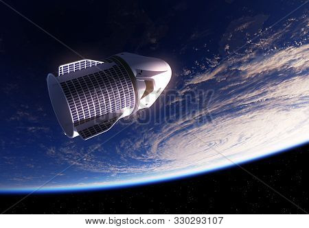 Commercial Spacecraft On The Background Of Planet Earth And A Big Hurricane. 3d Illustration.