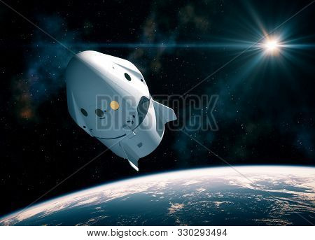 New Commercial Space Capsule Orbiting Planet Earth. 3d Illustration.