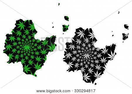 Surat Thani Province (kingdom Of Thailand, Siam, Provinces Of Thailand) Map Is Designed Cannabis Lea