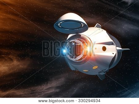 Commercial Spacecraft With Open Docking Hatch In Outer Space. 3d Illustration.