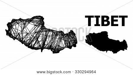 Web Vector Map Of Tibet. Wire Carcass 2d Mesh In Vector Eps Format, Geographic Model For Economics C