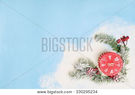 Christmas And New Year Holiday Background. Xmas Greeting Card. Christmas Accessories On Blue Backgro