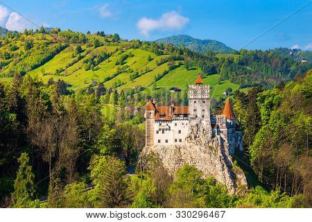 Popular Transylvanian Touristic Location With Famous Picturesque Bran Castle And Spring Rural Landsc