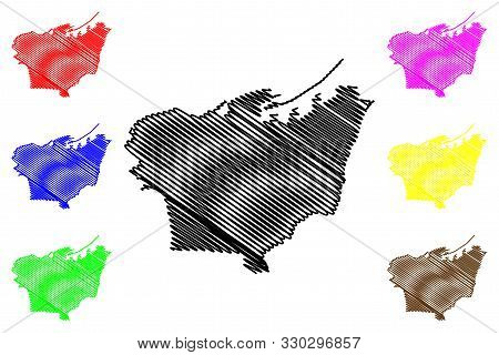 Beirut Governorate (lebanese Republic, Governorates Of Lebanon) Map Vector Illustration, Scribble Sk