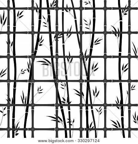 Black Bamboo Lattice Pattern With Bamboo Stems And Leaves. Vector Illustration Of A Closed Bamboo Fo