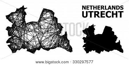 Web Vector Map Of Utrecht Province. Wire Carcass 2d Mesh In Vector Eps Format, Geographic Template F
