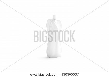 Blank White Doy Soft Bottle Pack With Cap Mockup, Side View, 3d Rendering. Empty Sauce Or Water Botl