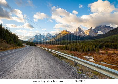 A Road In Kananaskis In The Canadian Rocky Mountains, Near Canmore, Alberta, Canada