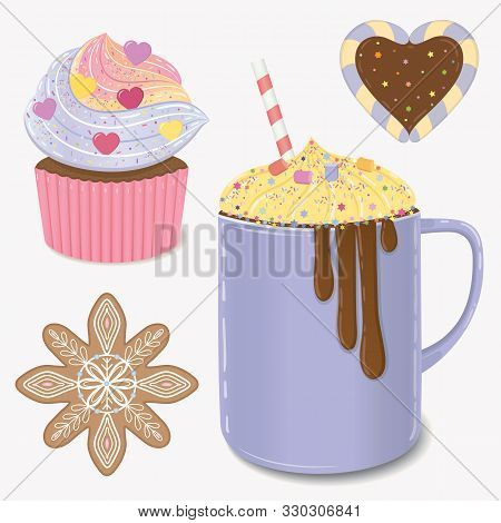 Holliday Bright Vector Illustration. Christmas Objects, Cakes, Cocktail And Cupcake