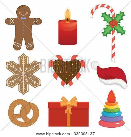 Holliday Bright Vector Illustration. Christmas Objects, Cakes, Candy And Presents