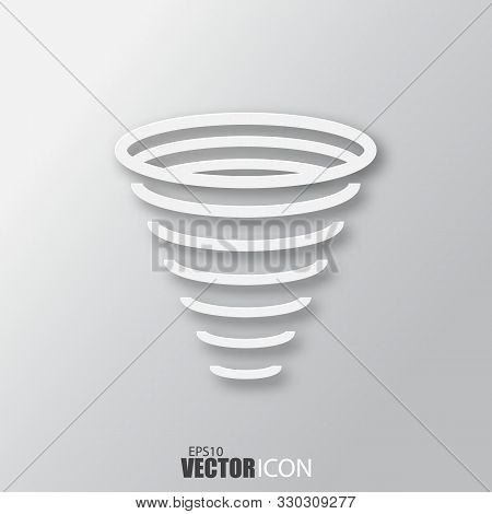 Tornado Icon In White Style With Shadow Isolated On Grey Background.