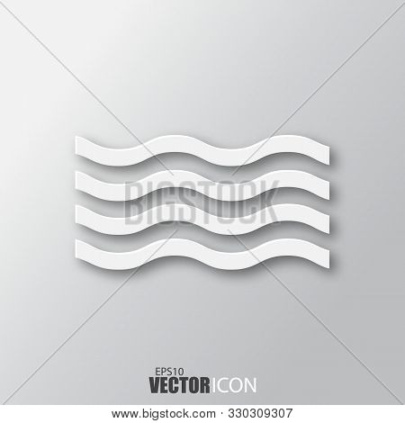 Wave Icon In White Style With Shadow Isolated On Grey Background.