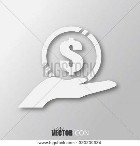 Money In Hand Icon In White Style With Shadow Isolated On Grey Background.